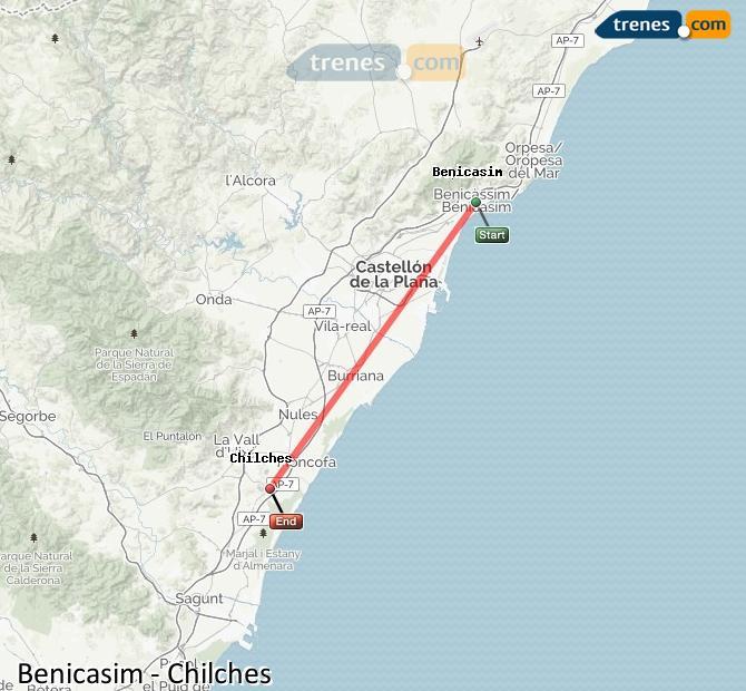 Karte vergrößern Züge Benicasim Chilches