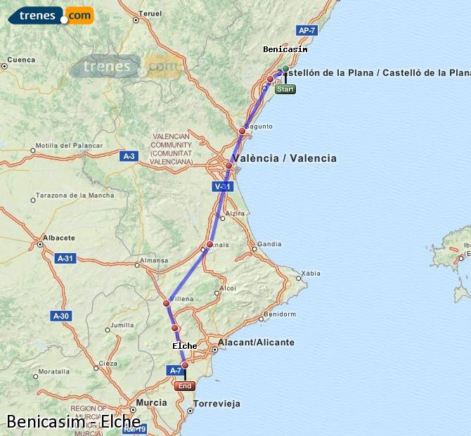 Enlarge map Trains Benicasim to Elche