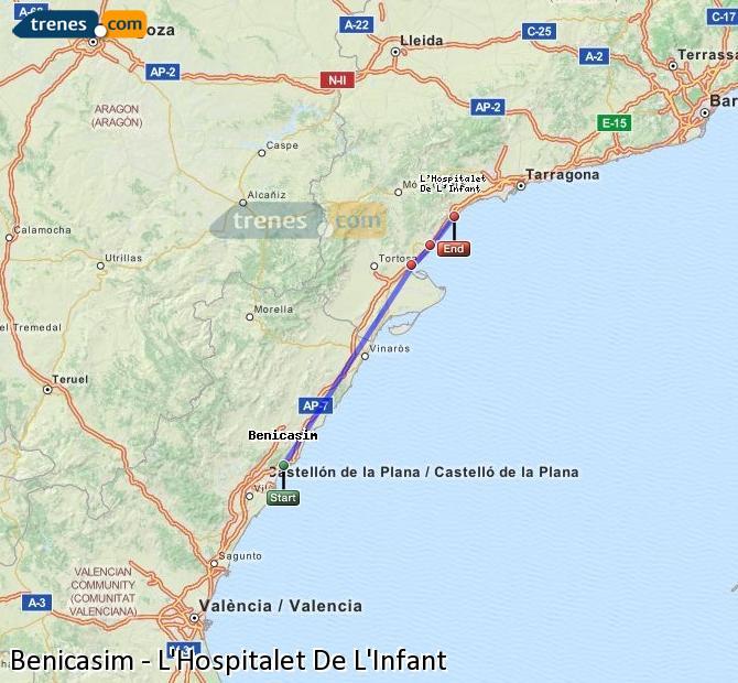 Ampliar mapa Trenes Benicasim L'Hospitalet De L'Infant
