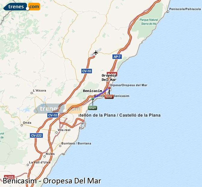 Enlarge map Trains Benicasim to Oropesa Del Mar