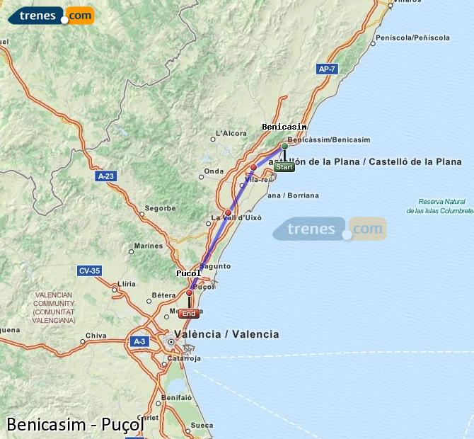 Enlarge map Trains Benicasim to Puçol