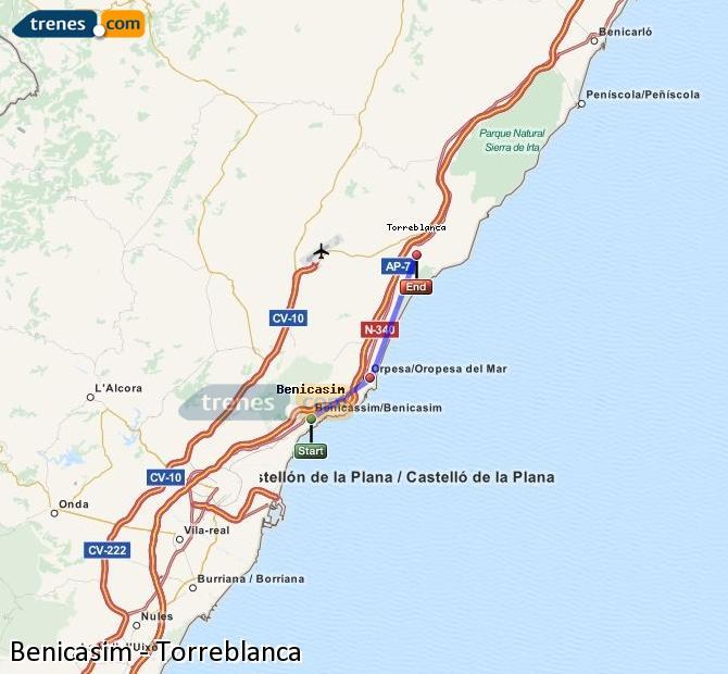 Ingrandisci la mappa Treni Benicasim Torreblanca