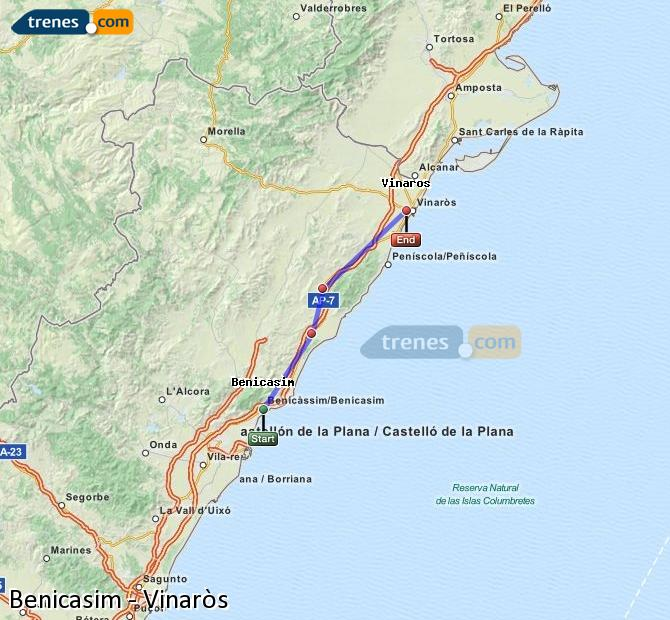 Karte vergrößern Züge Benicasim Vinaròs