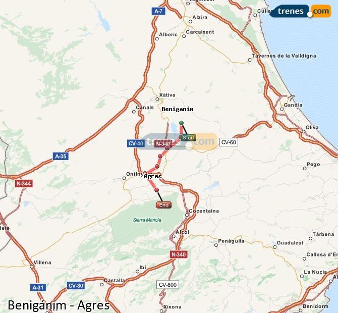 Enlarge map Trains Benigánim to Agres