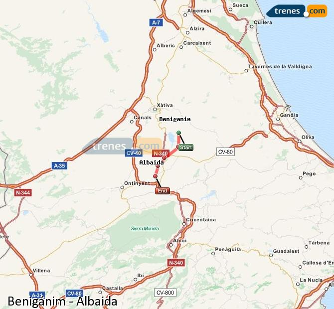 Ampliar mapa Trenes Benigánim Albaida