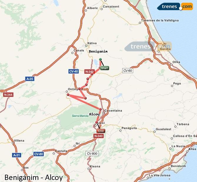 Ampliar mapa Trenes Benigánim Alcoy
