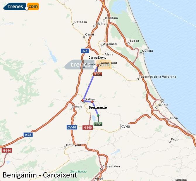 Ampliar mapa Trenes Benigánim Carcaixent