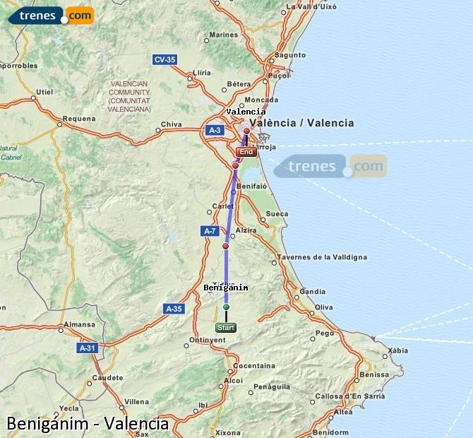 Enlarge map Trains Benigánim to Valencia