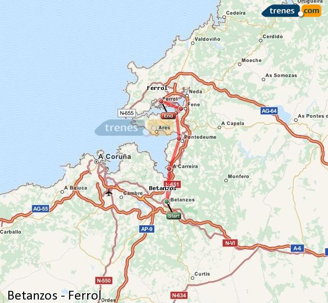 Enlarge map Trains Betanzos to Ferrol