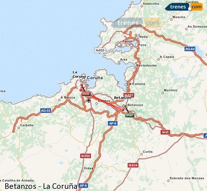 Ingrandisci la mappa Treni Betanzos La Coruña