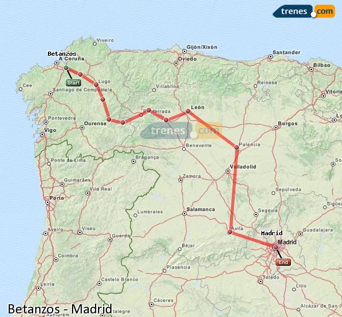 Agrandir la carte Trains Betanzos Madrid