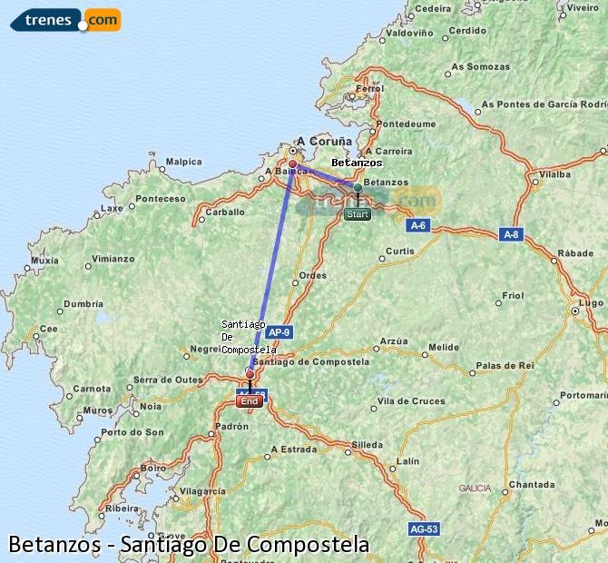 Karte vergrößern Züge Betanzos Santiago De Compostela