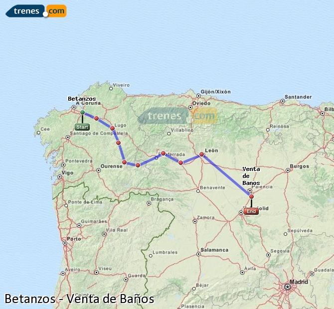 Ingrandisci la mappa Treni Betanzos Venta de Baños