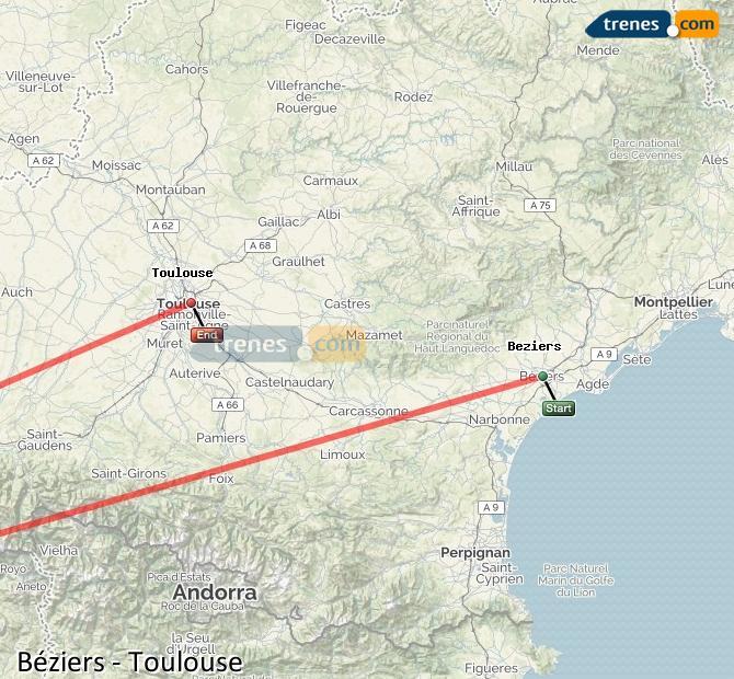 Karte vergrößern Züge Béziers Toulouse