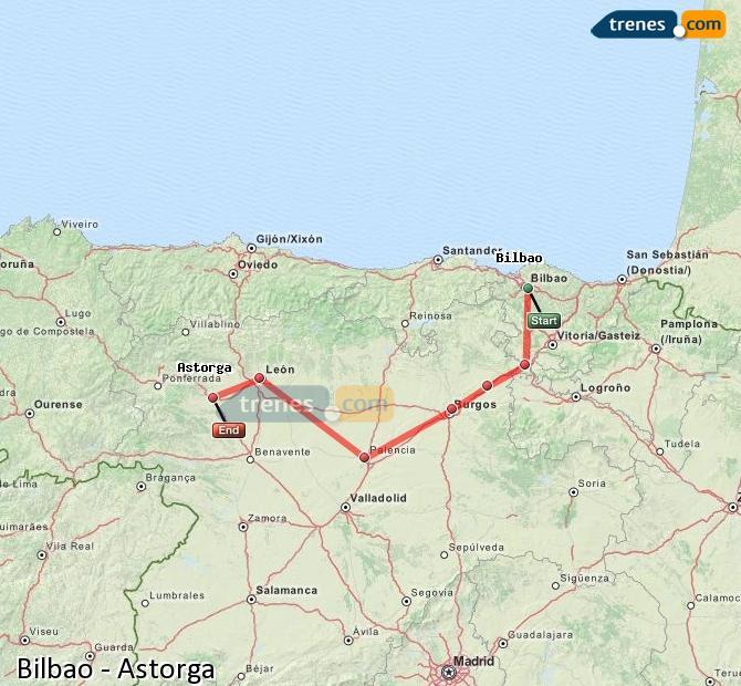 Ingrandisci la mappa Treni Bilbao Astorga