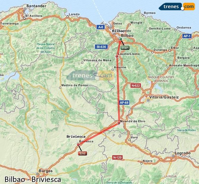 Karte vergrößern Züge Bilbao Briviesca
