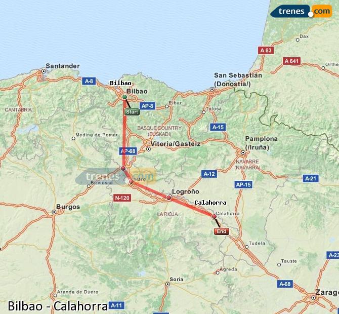 Agrandir la carte Trains Bilbao Calahorra