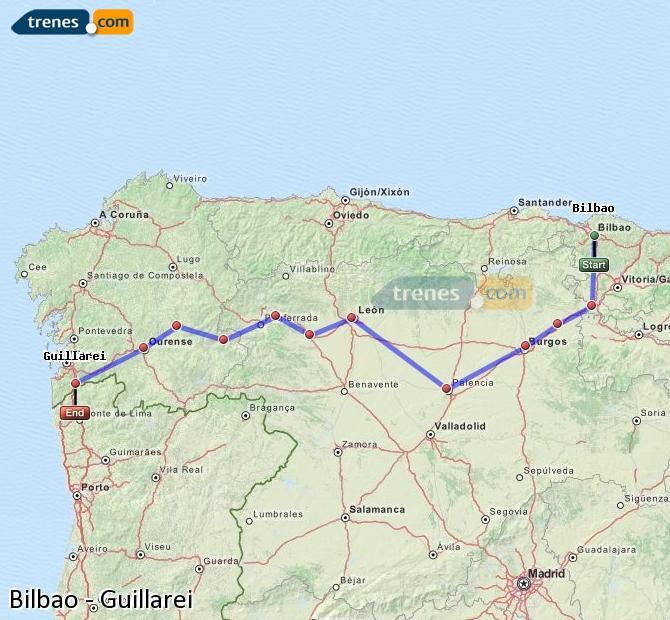 Ampliar mapa Trenes Bilbao Guillarei