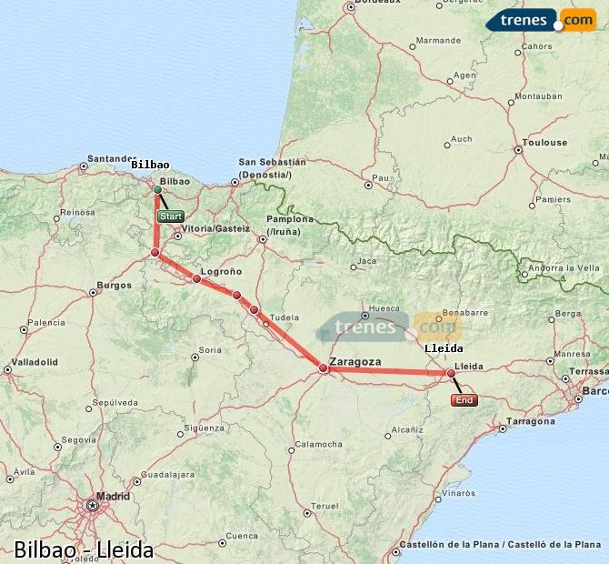 Karte vergrößern Züge Bilbao Lleida