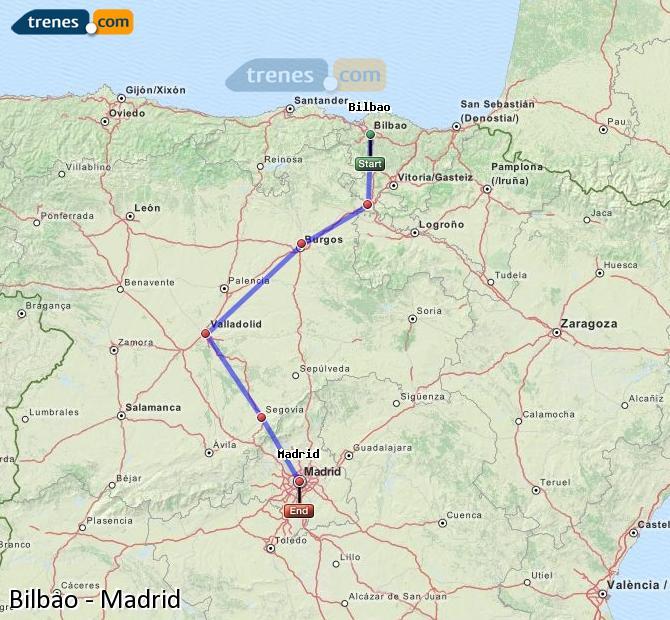 Ampliar mapa Trenes Bilbao Madrid
