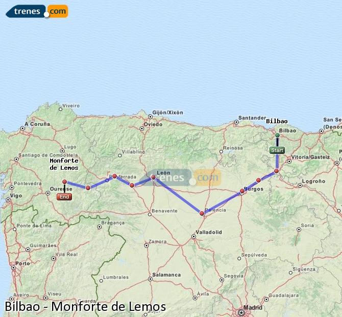 Enlarge map Trains Bilbao to Monforte de Lemos