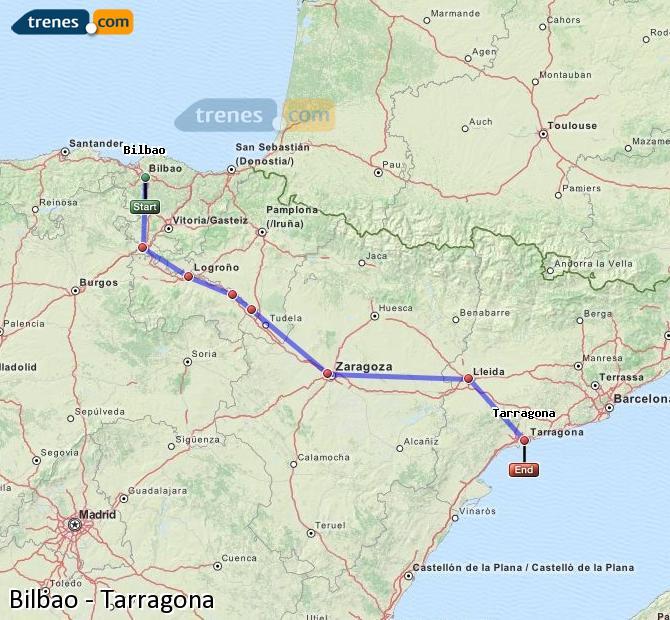 Enlarge map Trains Bilbao to Tarragona