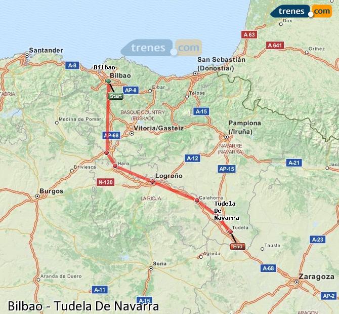 Ampliar mapa Trenes Bilbao Tudela De Navarra