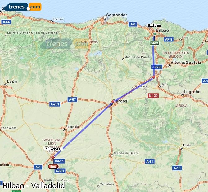 Enlarge map Trains Bilbao to Valladolid
