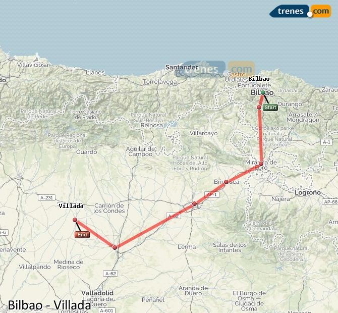 Karte vergrößern Züge Bilbao Villada