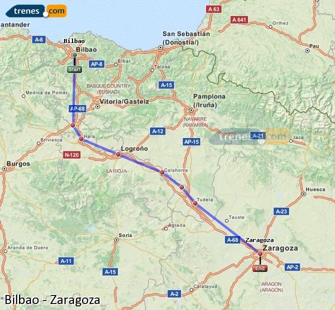 Ampliar mapa Trenes Bilbao Zaragoza