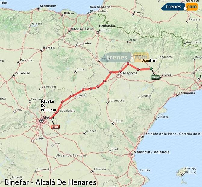 Enlarge map Trains Binefar to Alcalá De Henares