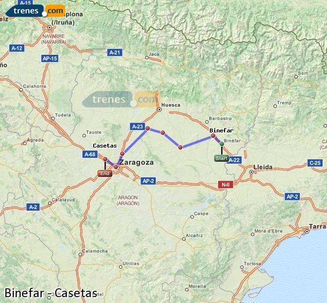 Enlarge map Trains Binefar to Casetas