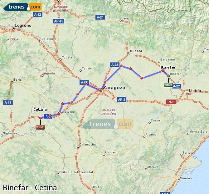 Enlarge map Trains Binefar to Cetina