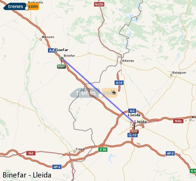 Ingrandisci la mappa Treni Binefar Lleida