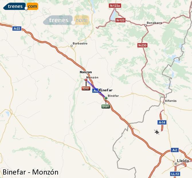 Agrandir la carte Trains Binefar Monzón