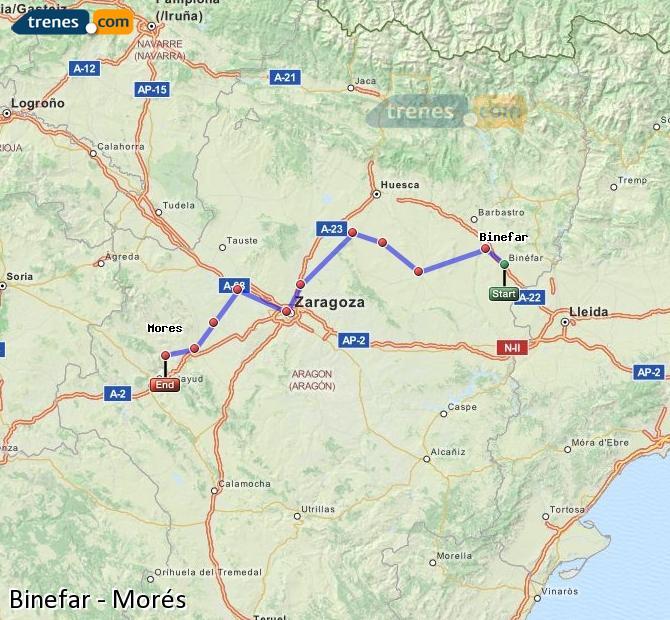 Ingrandisci la mappa Treni Binefar Morés