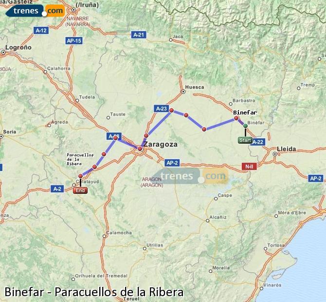 Enlarge map Trains Binefar to Paracuellos de la Ribera