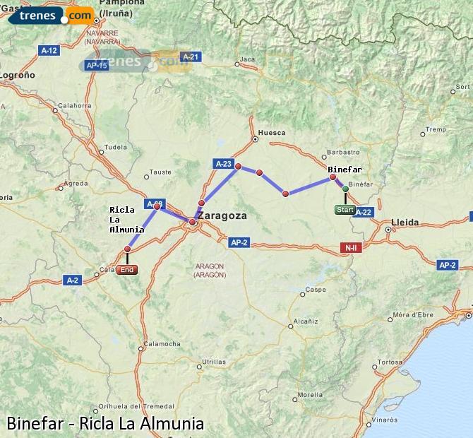 Ingrandisci la mappa Treni Binefar Ricla La Almunia