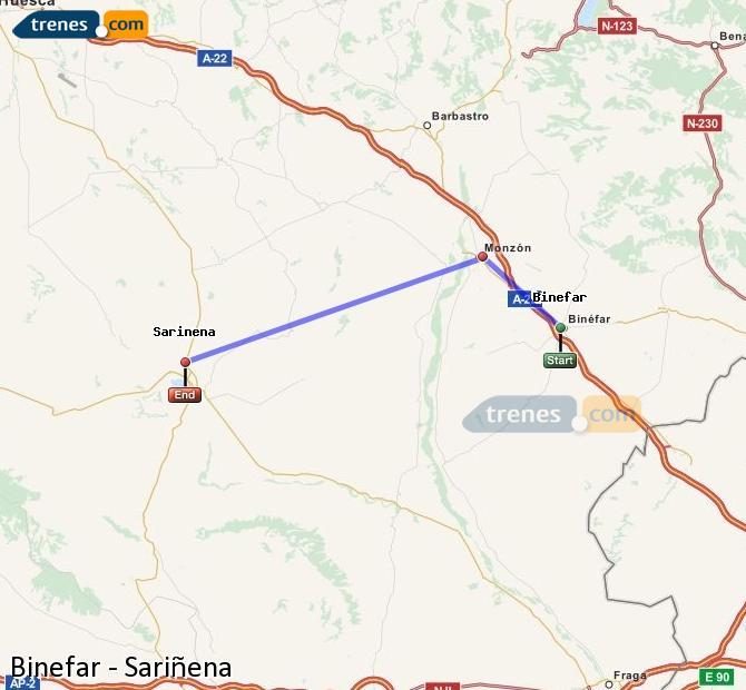 Ingrandisci la mappa Treni Binefar Sariñena