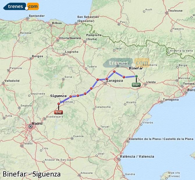 Ingrandisci la mappa Treni Binefar Siguenza