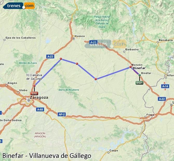 Ampliar mapa Comboios Binefar Villanueva de Gállego