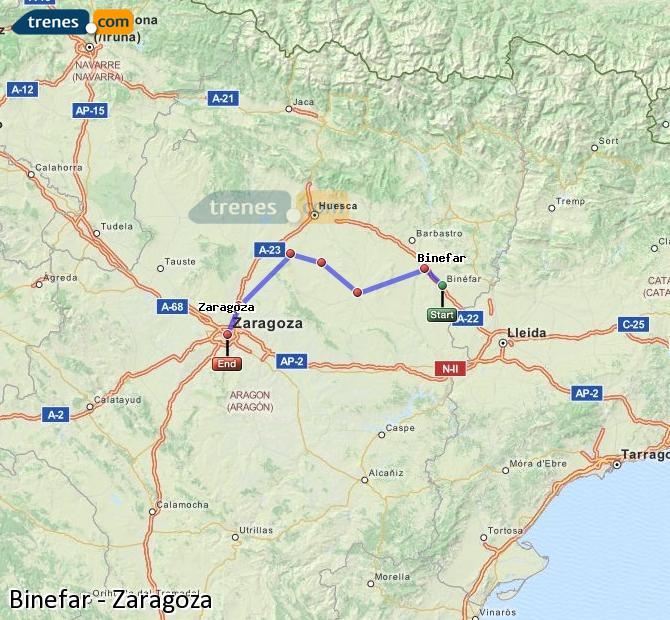 Ingrandisci la mappa Treni Binefar Zaragoza