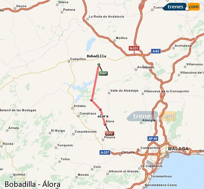 Enlarge map Trains Bobadilla to Álora