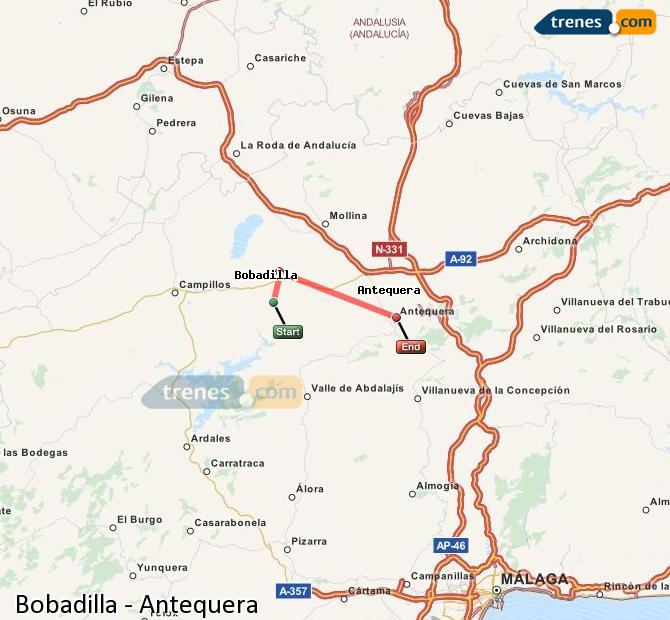 Enlarge map Trains Bobadilla to Antequera