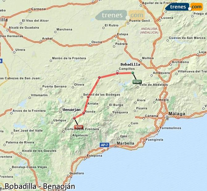 Enlarge map Trains Bobadilla to Benaojan