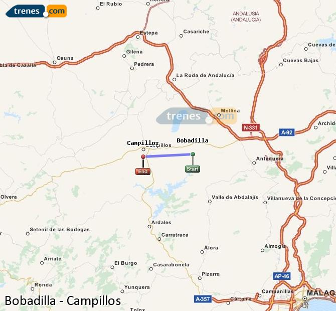 Karte vergrößern Züge Bobadilla Campillos