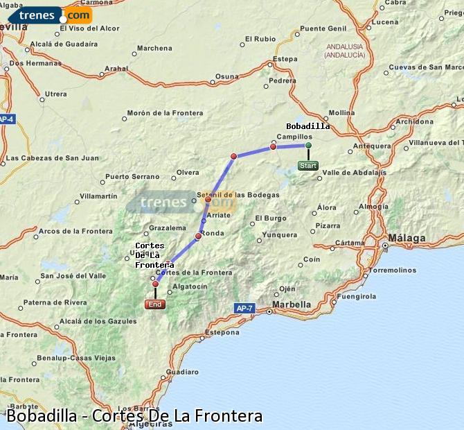 Enlarge map Trains Bobadilla to Cortes De La Frontera