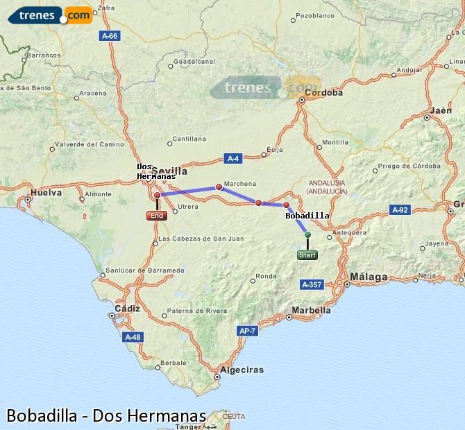 Enlarge map Trains Bobadilla to Dos Hermanas
