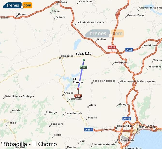 Enlarge map Trains Bobadilla to El Chorro