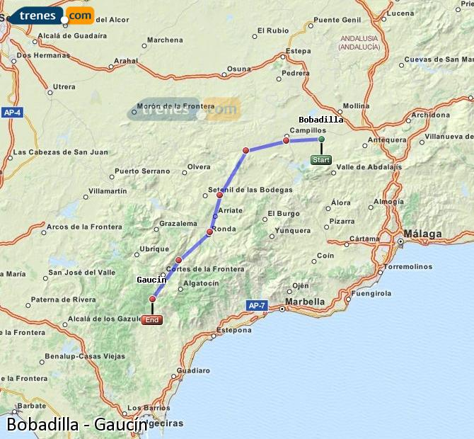 Enlarge map Trains Bobadilla to Gaucín